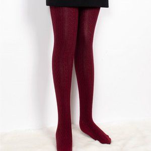 Comfortable Stretchy Full-length Footed Cable Knitted Tights